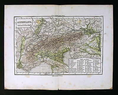 1865 Sydow Physical Map - Alpenland Europe Alps Switzerland Austria Italy France