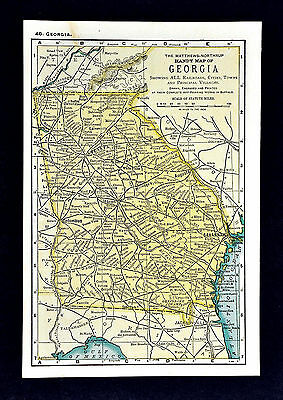 1900 Mathews-Northrup Handy Map of Georgia - Atlanta Athens Dalton Rome Columbus