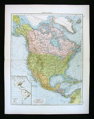 1900 Times Map - North America - United States Canada Mexico Alaska West Indies