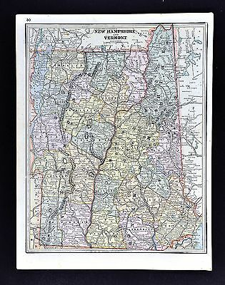 1891 Watson Atlas Map - New Hampshire Vermont - Montpelier Concord Mt Washington
