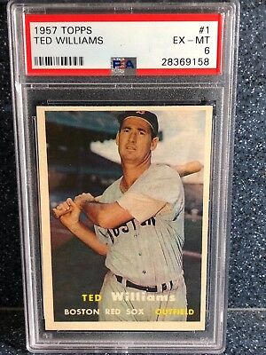 PACK FRESH! 1957 Topps Ted Williams #1 PSA 6 EX-MINT UNDERGRADED RAZOR SHARP