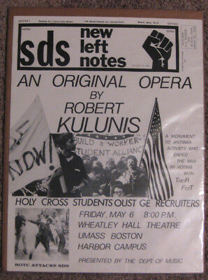 GREAT ANTI VIETNAM War Poster By The Sds - Umass Boston Campus Protest Opera