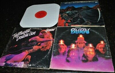 Blue Oyster Cult/deep Purple/ted Nugent: 4 Lp Rock Lot Vinyl Lp Record Albums Vg