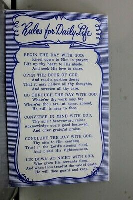 Christian Rules for Daily Life Postcard Old Vintage Card View Standard Souvenir