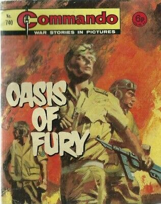 Oasis Of Fury,commando War Stories In Pictures,no.740,war Comic,1973