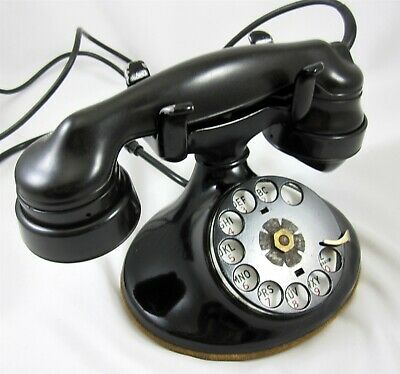 Western Electric Rotary Dial Black Phone D1 Base E1 Receiver Vintage 1940s
