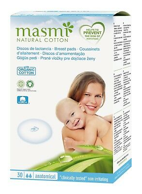 30 Masmi Breast Pads Certified Organic Cotton, Hypoallergenic, Biodegradable