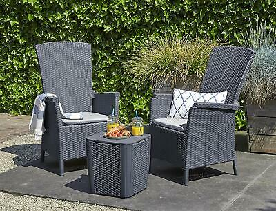 Rattan Garden Furniture 2 Recline Chairs Table Outdoor Patio Balcony Lounge Set