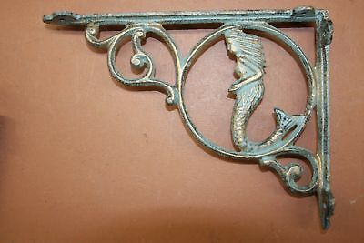 Mermaid Shelf Decor Shelf Brackets, Bronze Look Cast Iron, 9 inch, B-49a