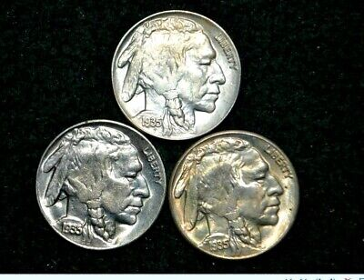 1935-P/D/S Buffalo Nickel Lot of 3 ** BU GEM** HIGH GRADE