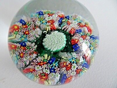 Vintage Murano Glass Italy CLOSE PACKED FLOWER MILLEFIORI GARDEN PAPERWEIGHT