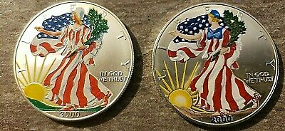 TWO COINS!!! both from the year 2000--2 Varieties of Colorized Silver American E