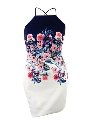 GUESS Women's Floral-Print Open-Back Sheath Dress (14,Navy/White)