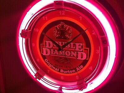 Double Diamond English Ale Beer Bar Advertising Man Cave Neon Wall Clock Sign