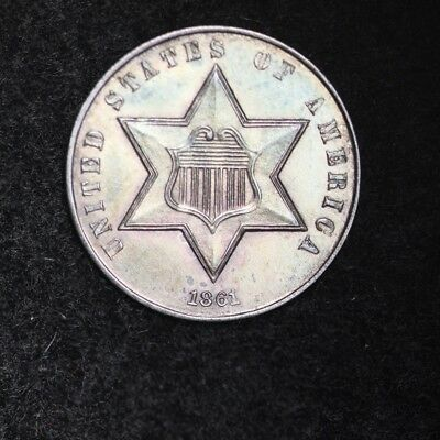 1861 Three Cent Silver Piece CHOICE BU FREE SHIPPING E336 ACFT