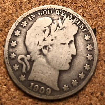 1909 Barber Half Dollar Silver 50 Cents Nice Condition. Philadelphia Mint