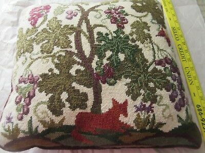 Decorator Fable Design FOX & GRAPES Completed Needlepoint Tapestry Pillow 15""