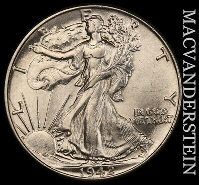 1942 Walking Liberty Half Dollar- Lustrous !! Brilliant Uncirculated !! #e8122
