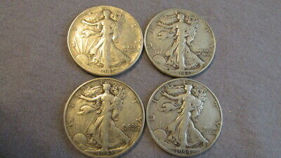 4 US Walking Liberty Half Dollars 1941, 1942, 1943, 1944  90% Silver M35