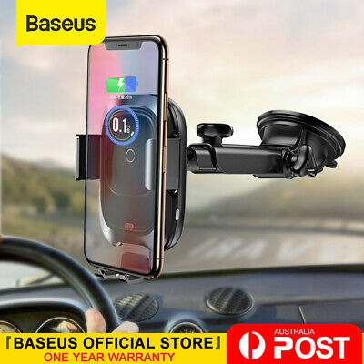 Baseus 10W Qi Car Wireless Charger Phone Holder for iPhone XS X 8 Samsung S10 S9