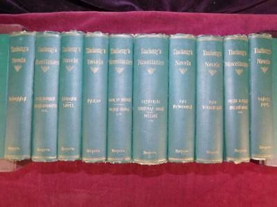 WILLIAM THACKERAY's WORKS: 10 BOOKS/HOUSEHOLD EDITION/ENGLAND NOVELS/SCARCE 1877