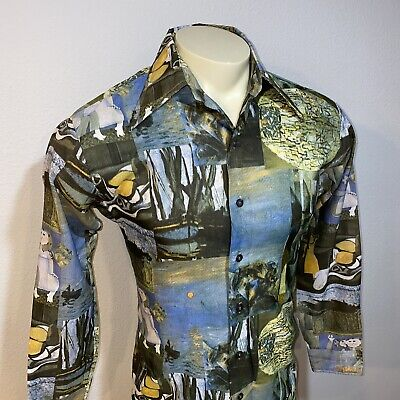 Vtg 60s 70s Kings Road SEARS Mens MEDIUM Picasso Mod POLYESTER Ugly disco shirt