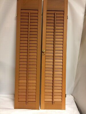 "VTG Wooden Louvered Shutters 2 Panels 36"" Architectural Salvage Indoor Shutter"