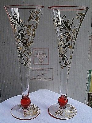 vintage Hand Painted Champagne Glasses set of 2 1980s gold & red design glittery