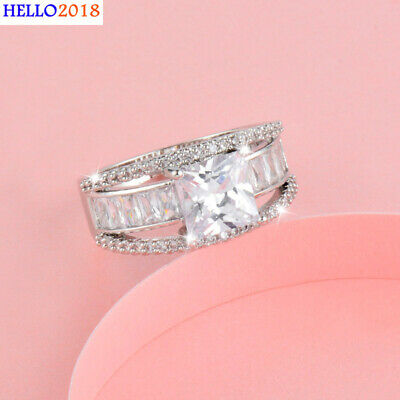 Four Claw Square Cubic  Zirconia Rings For Women Yellow Gold Plated Jewelry