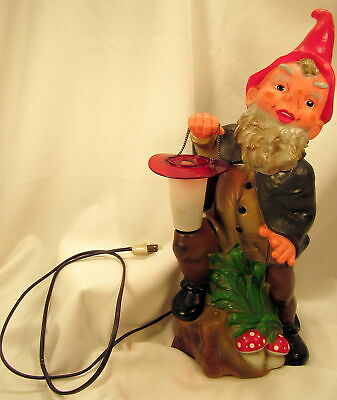 Vintage Rare Heissner Garden GNOME Light Up Lantern W Germany Rubber 19.5""