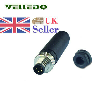 5Pcs Field-wireable Connector M8 Male 4-Pin Brass With Gold Plated Plug Adaptor