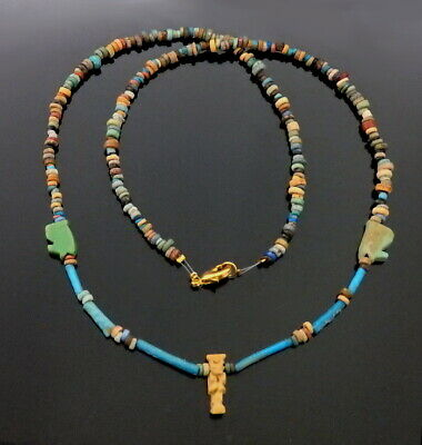 Egyptian New Kingdom Faience Bead & Amulet Necklace (M357)