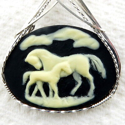 Horse Colt Cameo Pendant .925 Sterling Silver Animal Jewelry Black Resin