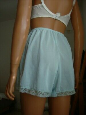 Vtg Kayser Lt Blue Silky Bri Nylon Jersey & Lace French Knickers Tap Panties
