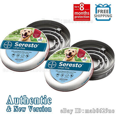 Bayer Seresto Flea and Tick Collar for Large Dog, Safe & Effective New--2 Packs