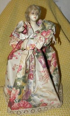 Antique Bisque Half Doll With Floral Gown Electric Boudoir Table Lamp~Victorian