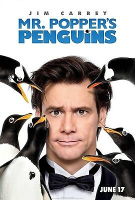 Mr. Popper's Penguins Original D/S Rolled Movie Poster 27x40 NEW 2013 Jim Carrey