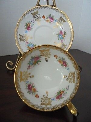 PARAGON TEA CUP AND SAUCER SET Floral ,Gold   Vintage
