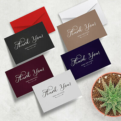 Personalised Simple Elegant Folded Wedding Thank You Cards in A6