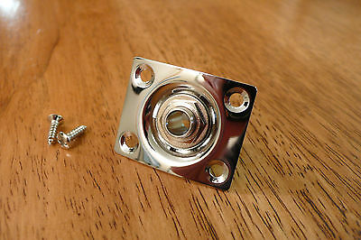 Input Ouput Jack And Plate Chrome Rectangle For Electric Guitar