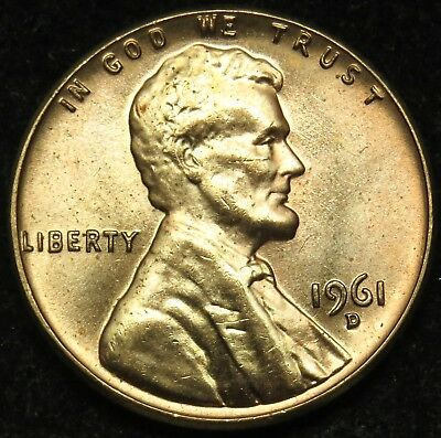 1961 D Uncirculated Lincoln Memorial Cent Penny BU (B03)