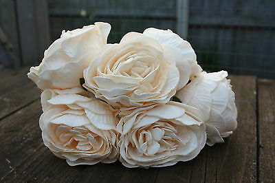 6 x RICH VINTAGE CREAM COLOURFAST FOAM  PEONY ROSES 9cm
