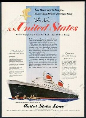 1952 SS United States ship color art maiden voyage US Lines vintage print ad
