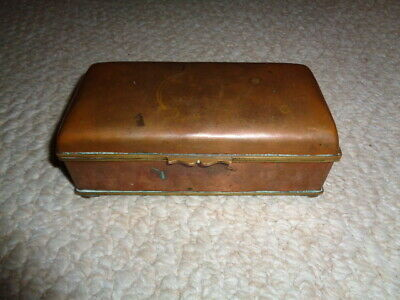Rare 19th century chinese bronze brass blue cloisonne enamel rectangle box corne
