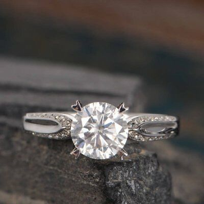 2ct Round Forever Brilliant Cut Moissanite Engagement Ring 14k Gold Fn 4 Prong