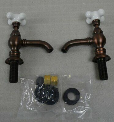New Nottingham Brass Porcelain Cross Point Handle Sink Faucet Oil Rubbed Bronze