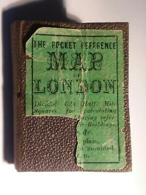 c.1860 JOHN DOWER ANTIQUE TINY POCKET BOOK VISITOR'S MAP OF LONDON FOLDING AS-IS