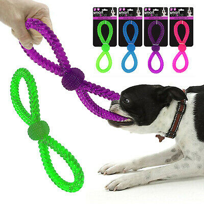 Puppy Dog Rope Toy Play Figure 8 Rubber Pull Tug Chew Tough Bite Training Bone