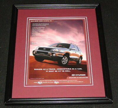 2001 Hyundai Santa Fe Framed 11x14 ORIGINAL Vintage Advertisement