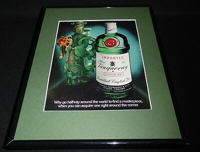 1982 Tanqueray Gin Framed 11x14 ORIGINAL Vintage Advertisement